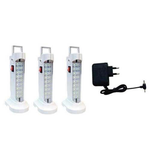 Anas White Polypropylene 3 Emergency Lights with Charger
