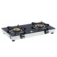 Black Pearl Plasma Double Burner Mini Smart Toughened Glass Gas Stove