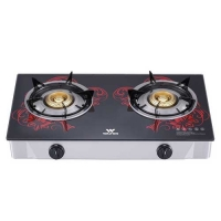 Walton WGS-GHT1 (LPG) RED BLOSSOM Glass Top Double Burner