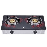 Walton WGS-GHT1 (NG) RED BLOSSOM Glass Top Double Burner